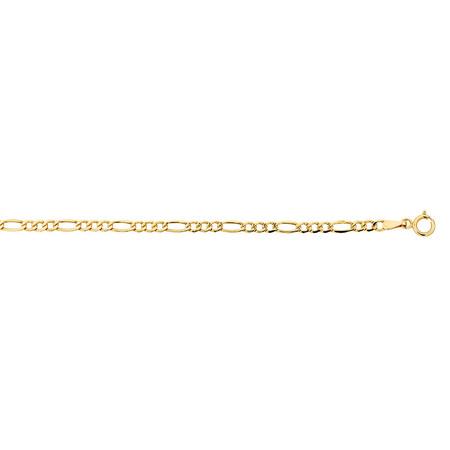"19cm (7.5"") Figaro Bracelet in 10kt Yellow Gold"