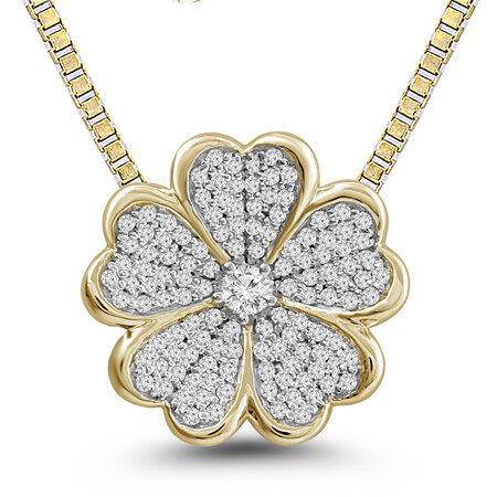 Flower Pendant with 0.25 Carat TW of Diamonds in 10kt Yellow Gold