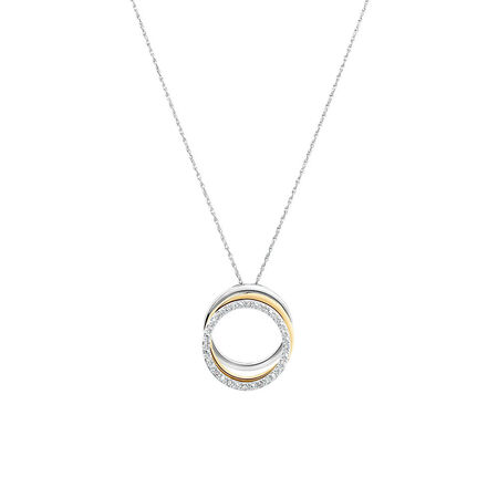 3 Layered Pendant with Diamonds in 10kt Yellow Gold & Sterling Silver