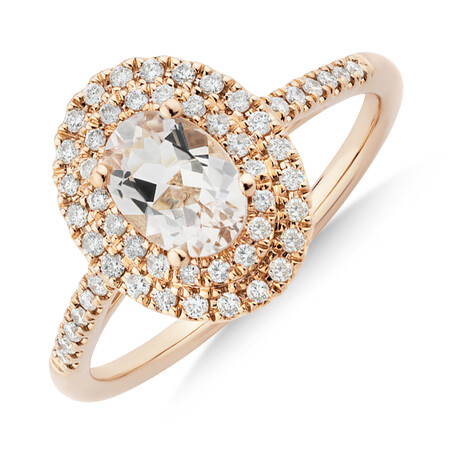 Morganite Double Halo Ring with 0.25 Carat TW of Diamonds in 10ct Rose Gold