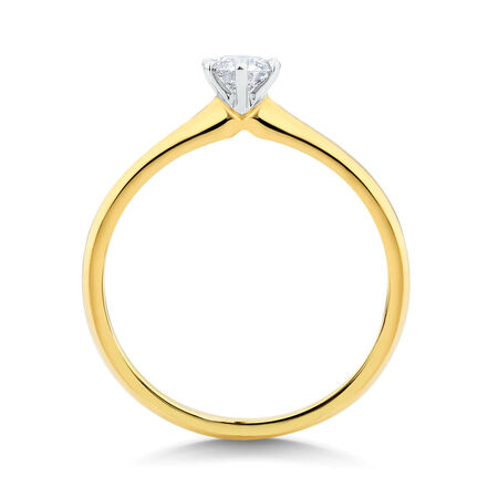 Solitaire Engagement Ring with a 0.34 Carat Diamond in 18kt Yellow & White Gold
