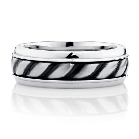Men's Patterned Ring in Stainless Steel