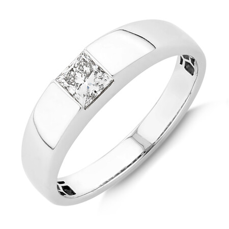 Laboratory-Created 0.50 Carat Men's Ring in 14kt White Gold