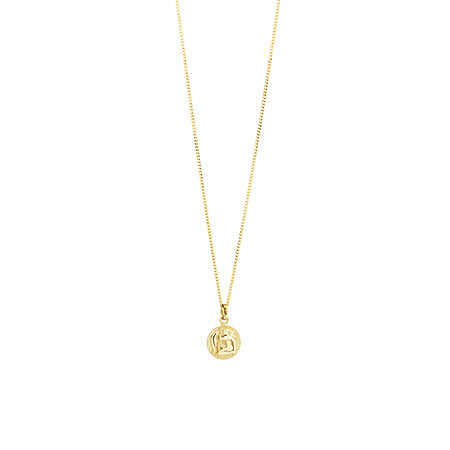 Aquarius Zodiac Pendant in 10kt Yellow Gold