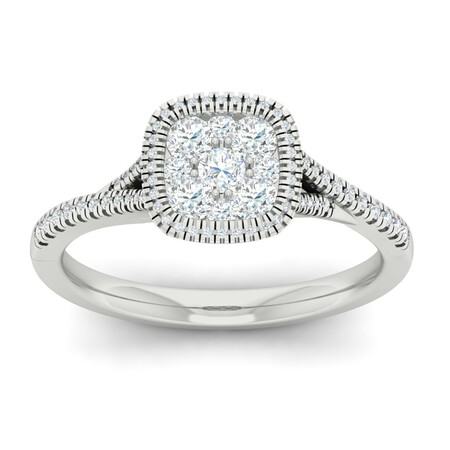 Cluster Ring with 0.62 Carat TW of Diamonds in 10kt White Gold