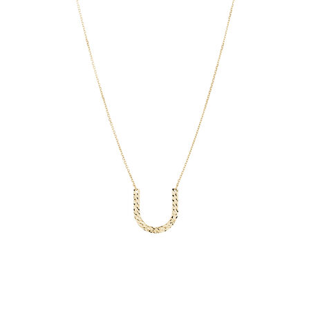 Horse Shoe Necklace in 10kt Yellow Gold