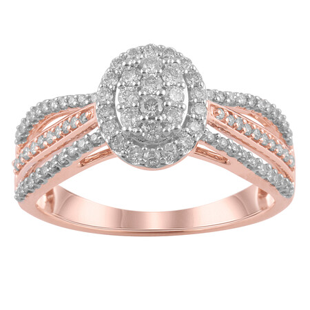 Oval Ring with 1/2 Carat TW of Diamonds in 10kt Rose Gold