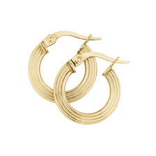 Four Ring Hoop Earrings in 10kt Yellow Gold