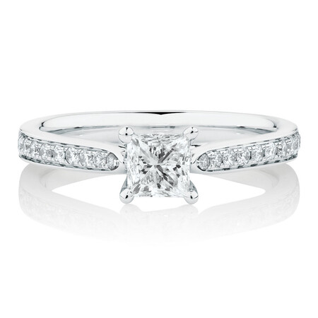 Solitaire Engagement Ring With 0.78 Carat TW of Diamonds In 14kt White Gold