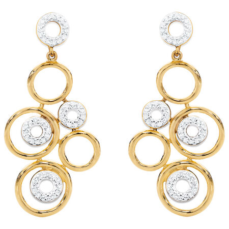 Drop Earrings with 0.30 Carat TW of Diamonds in 10kt Yellow Gold