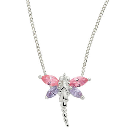 Dragonfly Pendant with Pink and Lavender Cubic Zirconias in Sterling Silver