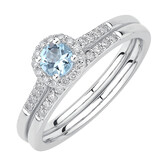 Evermore Bridal Set with Aquamarine & 0.20 Carat TW of Diamonds in 10kt White Gold