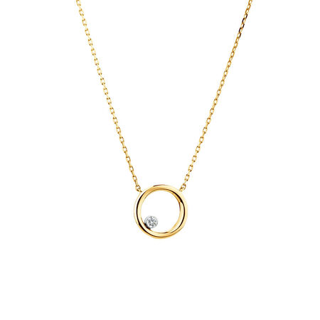 Floating Diamond Circle Necklace with a Diamond in 10kt Yellow Gold