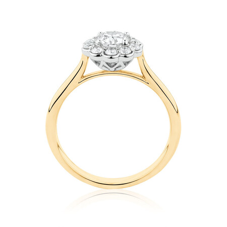Southern Star Engagement Ring with 0.85 Carat TW of Diamonds in 14kt Yellow & White Gold
