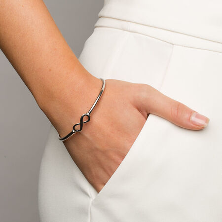 Infinity Hinged Bangle in Sterling Silver