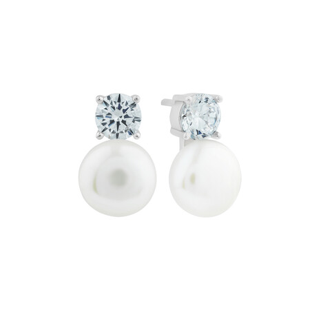 Cultured Freshwater Pearls & Cubic Zirconia Stud Earrings in Sterling Silver