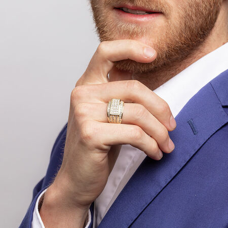Men's Ring with 1.95 Carat TW of Diamonds in 10kt Yellow Gold