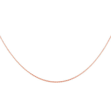 "50cm (20"") Hollow Rolo Chain in 10kt Rose Gold"