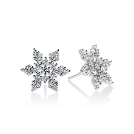 Pave Floral Stud Earrings with White Cubic Zirconia in Sterling Silver