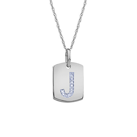 """""""J"""" Initial Rectangular Pendant With Diamonds In 10ct White Gold"""