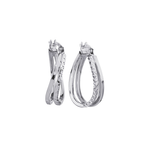 Huggie Earrings in 10kt White Gold