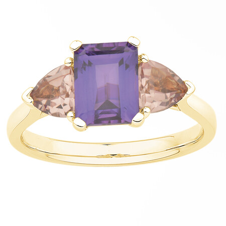 Three Stone Ring with Created Sapphire in 10kt Yellow Gold