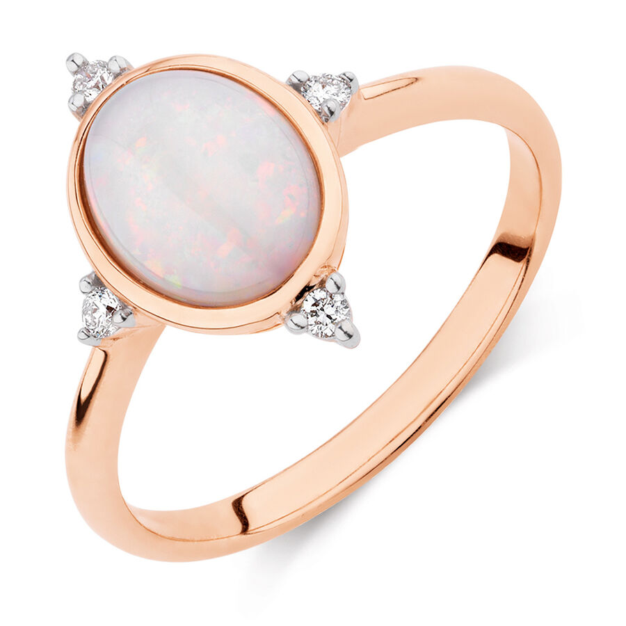 Opal Compass Ring with Diamonds in 10kt Rose Gold