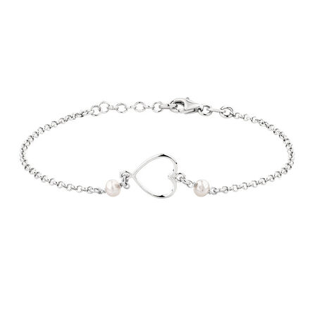 Heart Bracelet with Cultured Freshwater Pearls in Sterling Silver