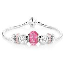 Pink Glass & Sterling Silver Charm Bracelet