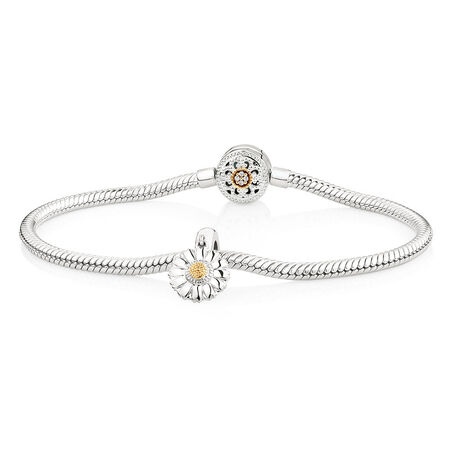 Charm Bracelet with Flower Charm in 10kt Yellow Gold & Sterling Silver