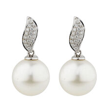 Online Exclusive - Earrings with 0.15 Carat TW of Diamonds & Cultured South Sea Pearl in 10kt White Gold