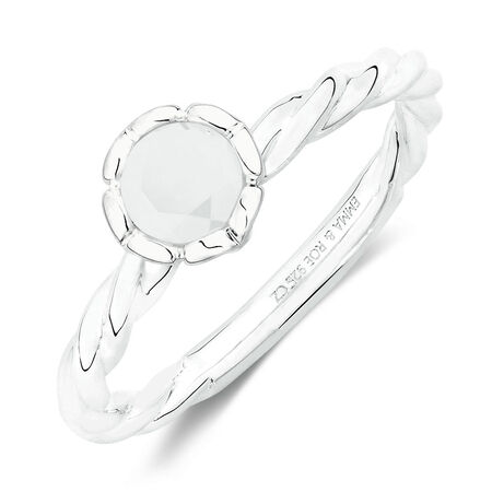 June Stacker Ring with Opaque White Cubic Zirconia in Sterling Silver