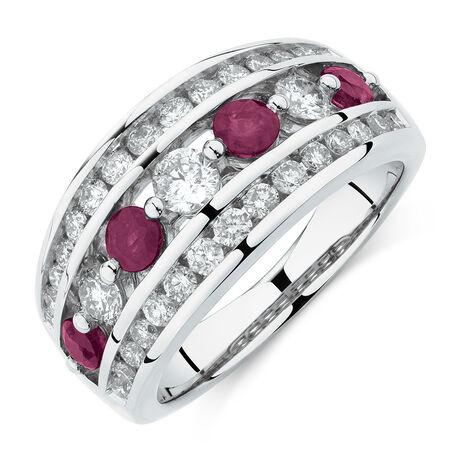 Ring with Ruby & 1 Carat TW of Diamonds in 14kt White Gold