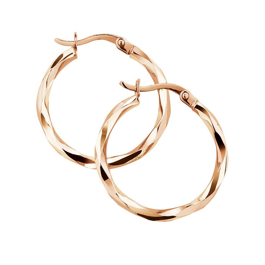 18mm Twist Hoop Earrings in 10kt Rose Gold