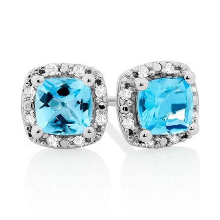 Stud Earrings with Blue Topaz & Diamonds in 10kt White Gold