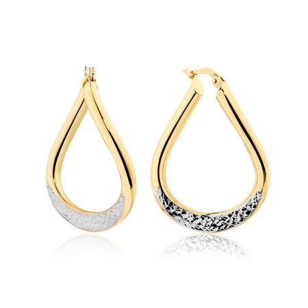 Twist Hoop Earrings in 10kt Yellow & White Gold