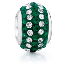 Green & White Crystal Charm