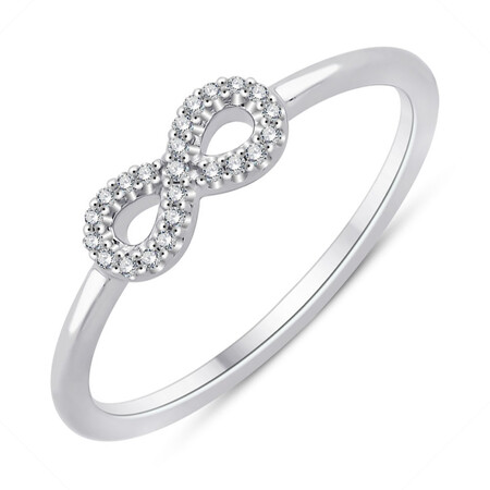 Infinity Ring With Diamonds In Sterling Silver