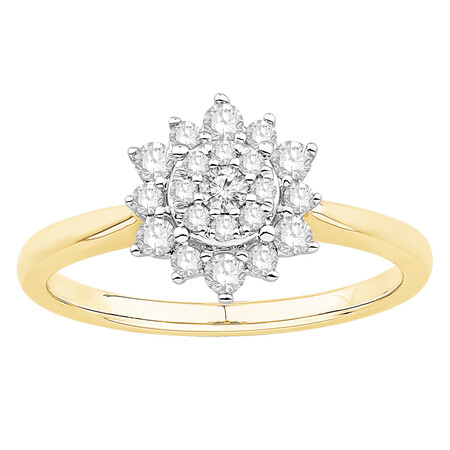 Ring with 0.38 Carat TW of Diamonds in 10kt Yellow & White Gold
