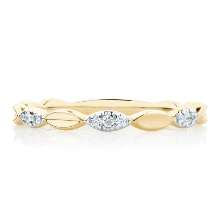 Marquise Stacker Ring with Diamonds in 10kt Yellow Gold