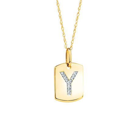 """Y"""" Initial Rectangular Pendant With Diamonds In 10kt Yellow Gold"""