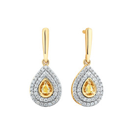 Drop Earrings with 1/2 Carat TW of Natural Yellow & White Diamonds in 10kt Yellow Gold