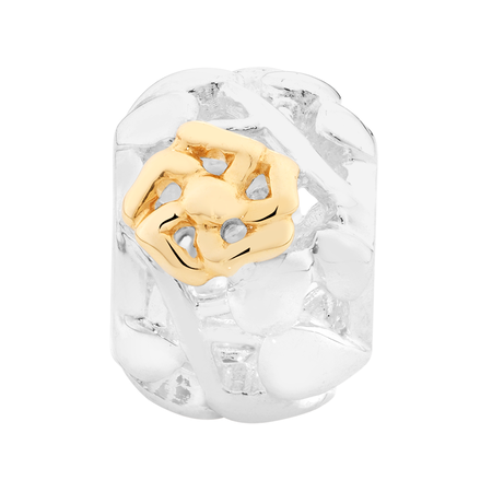 10kt Yellow Gold & Sterling Silver Filigree Flower Charm