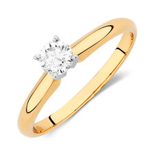 Solitaire Engagement Ring with a 0.29 Carat Diamond in 14kt Yellow & White Gold