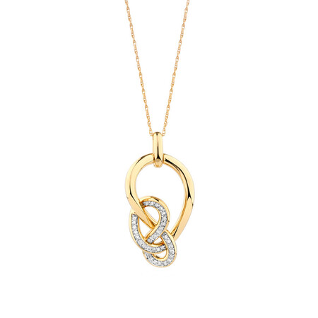 Medium Knots Pendant with 0.19 Carat TW of Diamonds in 10kt Yellow Gold