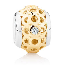 Diamond Set, 10kt Yellow Gold & Sterling Silver Charm