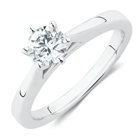 Solitaire Engagement Ring with an Internally Flawless 1/2 Carat TW Diamond in 14ct White Gold