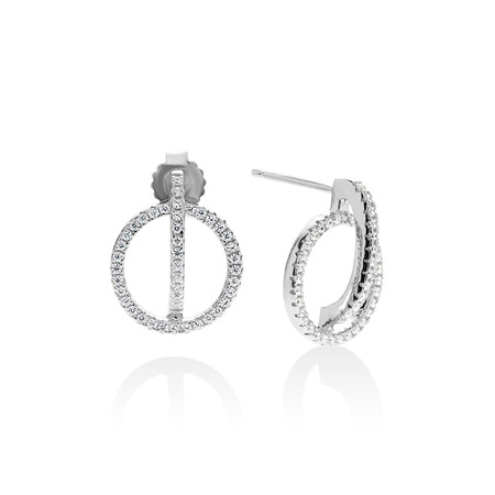 Circle Bar Earrings with White Cubic Zirconia in Sterling Silver