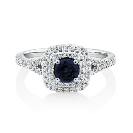 Michael Hill Designer Ring With Sapphire & 1/4 Carat TW Of Diamonds In 10kt White & Rose Gold