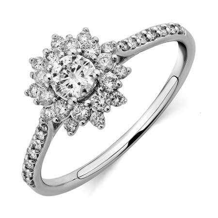 Engagement Ring with 0.60 Carat TW of Diamonds in 14kt White Gold